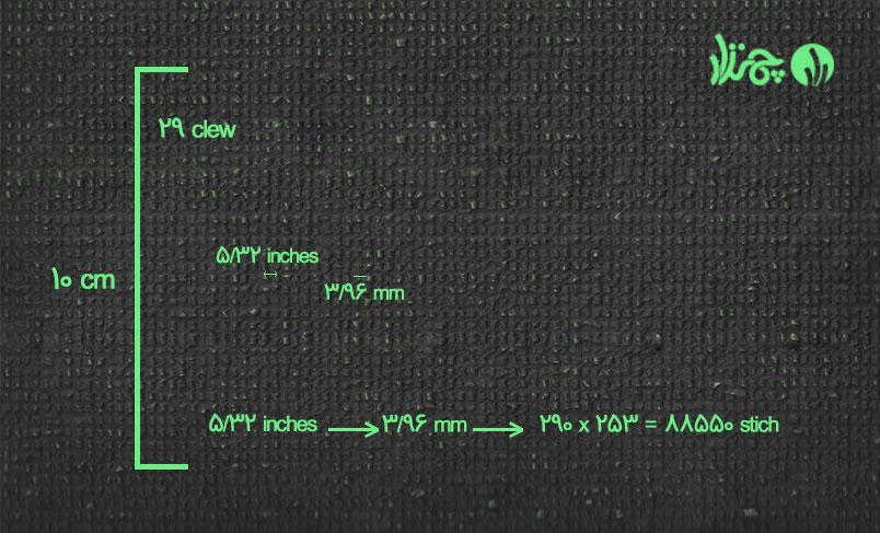 تراکم ردیف بافت 5/32 اینچ